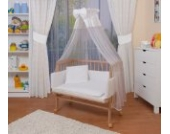 WALDIN Baby Beistellbett komplett mit Ausstattung, höhen-verstellbar, Buche Massiv-Holz natur unbehandelt,16 Modelle wählbar,weiß