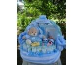 WindeltorteFrüchtebärchen-Banane und Babydecke,blauGeburt,Taufe,Hochzeit,Junge