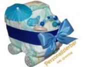 Pampers Windelwagen blau - Windeltorte mit Namen Kinderwagen BOY - Geschenk zur Geburt Junge - Einzigartige Windelwagen von dubistda