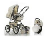 """15 teiliges Qualitäts-Kinderwagenset 3 in 1 """"FLASH"""": Kinderwagen + Buggy + Autokindersitz – all inklusive Paket in Farbe BLACK-DAISY"""