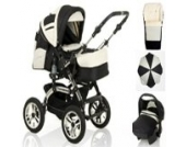 18 teiliges Qualitäts-Kinderwagenset 5 in 1 CITY DRIVER: Kinderwagen + Buggy + Autokindersitz + Schirm + Winter-Fussack - Megaset - all inclusive Paket in Farbe SCHWARZ-PEARL