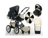 "17 teiliges Qualitäts-Kinderwagenset 5 in 1 ""FLASH"": Kinderwagen + Buggy + Autokindersitz + Schirm + Winterfussack – all inklusive Paket in Farbe PEARL-DAISY"