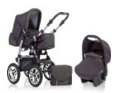 "15 teiliges Qualitäts-Kinderwagenset 3 in 1 ""FLASH"": Kinderwagen + Buggy + Autokindersitz – all inklusive Paket in Farbe ANTHRAZITE-GRÜN-DEKOR"