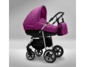 Akjax Fobos 3in1 - Kombikinderwagen - Kinderwagen - Buggy - Babyschale - Nr.30 pink / schwarze Punkte pink