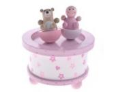 Kinder Spieluhr Holzspieluhr GIRL AND BEAR, rosa-weiß, Melodie: Hush little Baby