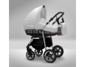 Akjax Fobos 3in1 - Kombikinderwagen - Kinderwagen - Buggy - Babyschale - Nr.02 weiß / karo grau