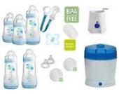 MAM Set 6 - Startset - Flaschen Sterilisator Babykoster Sauger 20 teilig - Junge + gratis Schmusetuch Löwe Leo