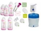 MAM Set 6 - Startset - Flaschen Sterilisator Babykoster Sauger 20 teilig - Mädchen + gratis Schmusetuch Löwe Leo