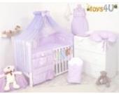 7tlg. Babybettwäsche Set, sort, 135x100cm violett