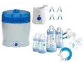 MAM Set 3 - Startset - Flaschen Sauger Sterilisator Flaschen- & Babykoster - Blau + gratis Geschenk