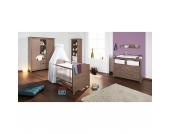 Komplett Kinderzimmer JELKA, 3-tlg. (Kinderbett, Wickelkommode und 2-türiger Kleiderschrank), Fichte massiv/Graubraun lasiert Gr. 70 x 140